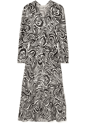 Marni - Printed Poplin Midi Dress - Black