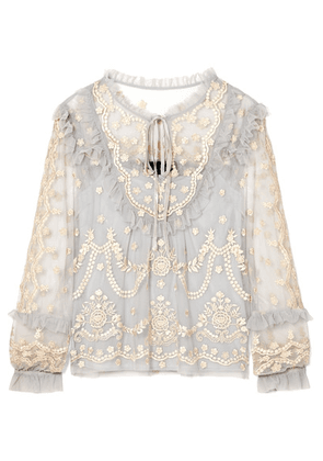 Needle & Thread - Flapper Ruffled Embroidered Tulle Blouse - Light blue