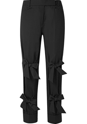 Simone Rocha - Bow-embellished Wool-blend Twill Straight-leg Pants - Black