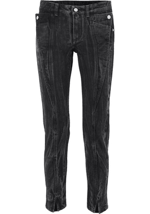 Givenchy - Distressed Mid-rise Slim-leg Jeans - Black