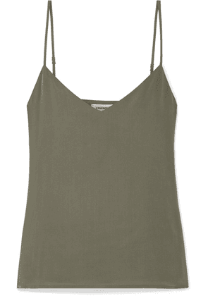 L'Agence - Jane Washed-silk Camisole - Army green