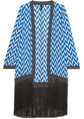 Emma Pake - Liliana Fringed Printed Silk Crepe De Chine Robe - Bright blue