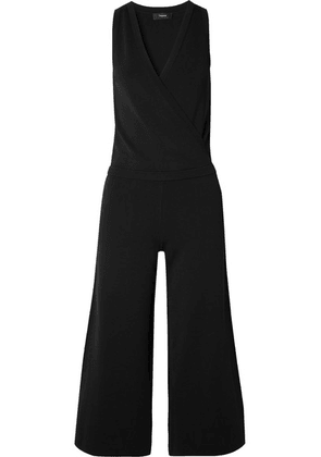 Theory - Wrap-effect Stretch-knit Jumpsuit - Black