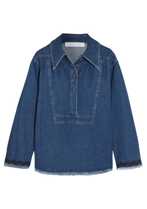 See By Chloé - Ric Rac-trimmed Frayed Denim Top - Mid denim
