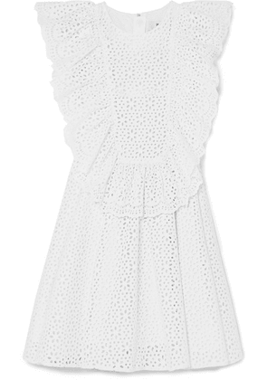 MSGM - Ruffled Broderie Anglaise Cotton Mini Dress - White