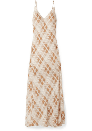 LoveShackFancy - Kate Ruffled Plaid Silk-jacquard Maxi Dress - Ivory
