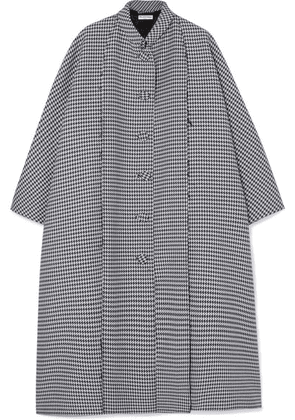 Balenciaga - Oversized Houndstooth Wool And Silk-blend Crepe Coat - Gray