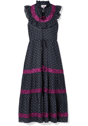 Figue - Lila Ruffle-trimmed Embroidered Polka-dot Cotton-voile Dress - Navy