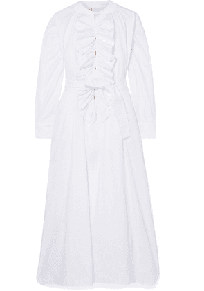 Yvonne S - Ruffled Cotton-poplin Midi Dress - White