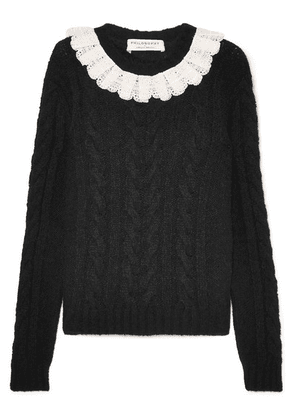 Philosophy di Lorenzo Serafini - Crocheted Lace-trimmed Cable-knit Sweater - Black