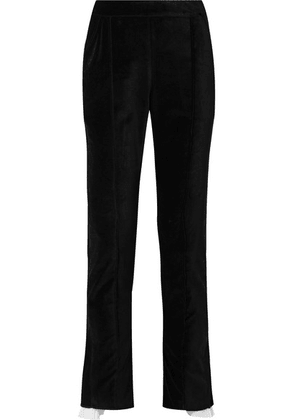 Rosie Assoulin - Voile-trimmed Cotton-velvet Straight-leg Pants - Black