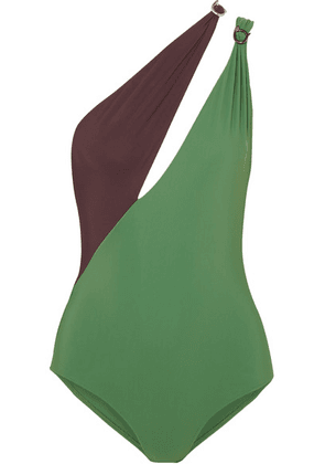 On The Island By Marios Schwab - Double Boa Cutout One-shoulder Swimsuit - Dark green