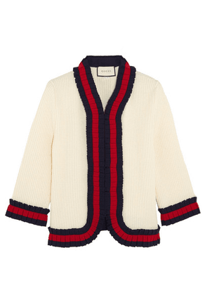 Gucci - Ruffle-trimmed Ribbed Wool Cardigan - Cream