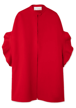 Valentino - Ruffled Brushed Wool And Cashmere-blend Cape - Red