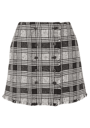 Thom Browne - Frayed Checked Wool-blend Tweed Mini Skirt - Black