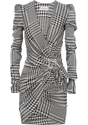 Alexandre Vauthier - Embellished Draped Houndstooth Silk-blend Satin Mini Dress - Gray