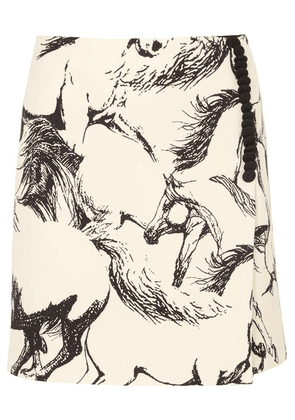 Adam Lippes - Printed Wool Mini Skirt - Ivory