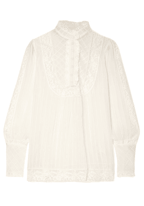 Zimmermann - Unbridled Lace-trimmed Silk-georgette Blouse - Off-white