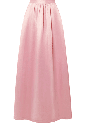 Rosie Assoulin - Pleated Cotton-blend Satin Maxi Skirt - Baby pink