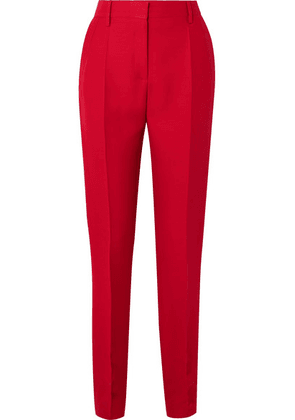 Valentino - Silk And Wool-blend Slim-leg Pants - Red