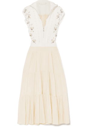 Chloé - Embellished Broderie Anglaise Linen And Cady Midi Dress - White