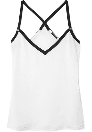 Versace - Embellished Two-tone Crepe Camisole - White