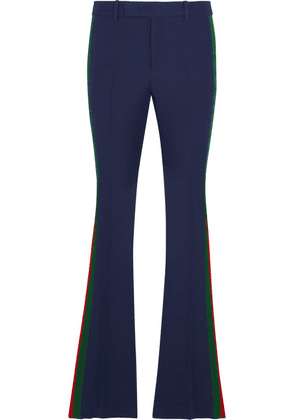 Gucci - Striped Wool And Silk-blend Cady Flared Pants - Navy
