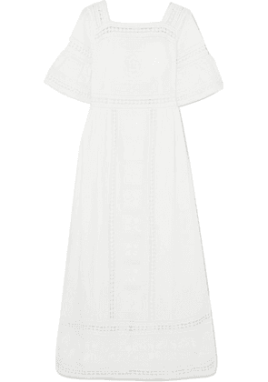 Talitha - Sarafina Lace-paneled Embroidered Cotton-voile Midi Dress - White