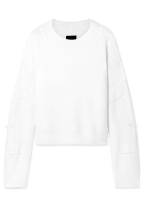 RtA - Liam Distressed Knitted Sweater - Off-white