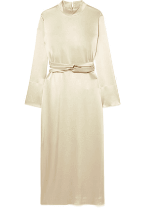 Nanushka - Sadie Belted Satin Midi Dress - Cream