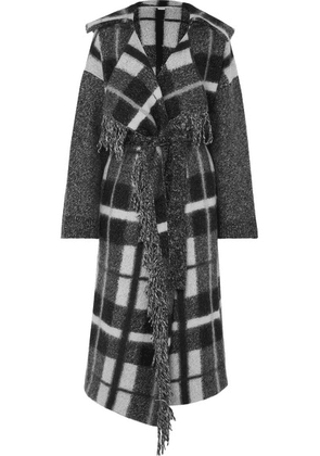 Stella McCartney - Hooded Checked Wool-blend Coat - Gray