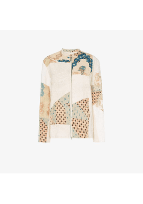 By Walid Classic Victorian embroidered patchwork cotton bomber jacket
