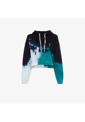 Re/Done tie dye cropped cotton hoodie
