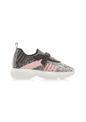 Prada Cloudbust Metallic Stretch-Knit Sneakers