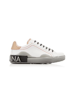 Dolce & Gabbana Portofino Dip-Dyed Leather Logo Sneakers