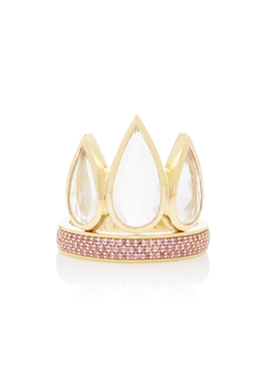 ARK Tiara 18K Gold Sapphire And Crystal Ring