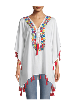 Floral-Embroidered Lace-Up Tunic