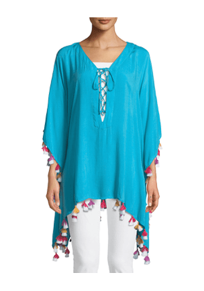 Lace-Up Tunic with Tassels