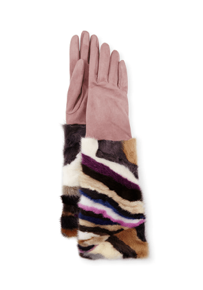 Long Suede & Mink Gloves, Blush/Multicolor