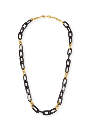 Dark Horn & Bronze Alternating Link Necklace, 38'L