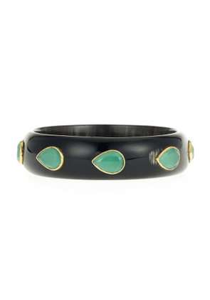 Horn Bangle Bracelet with Green Aventurine Teardrop Stones