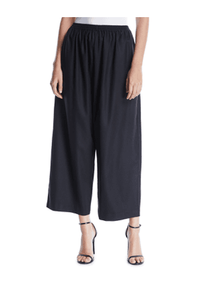 Wide-Leg Wool-Cashmere Cropped Trousers
