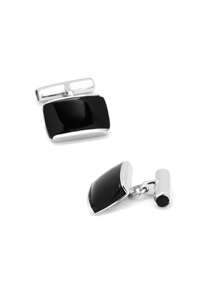 Sterling Silver Cushion Cuff Links with Onyx Inlay