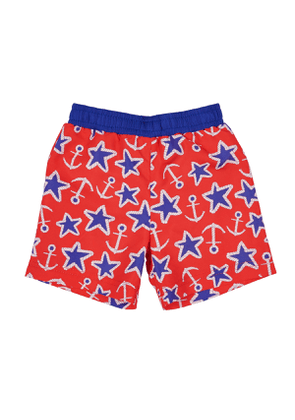 Anchor Star-Print Swim Trunks, Size 6-24 months