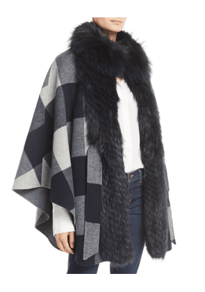 Belted Check Cape w/ Fur Collar