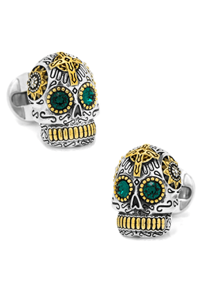 3D Day of the Dead Sugar Skull Cuff Links, Silver