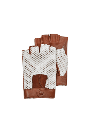 Forzieri Designer Men's Gloves, Brown Leather and Cotton Men's Driving Gloves