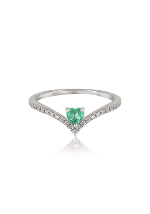 Forzieri Designer Rings, V-Shaped Diamonds Band Ring with Enclosed Emerald Heart