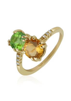Forzieri Designer Rings, Double Gemstone and Diamond Yellow Gold Ring