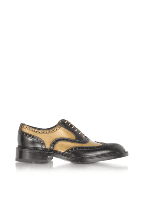 Forzieri Designer Shoes, Italian Handcrafted Two-tone Wingtip Oxford Shoes